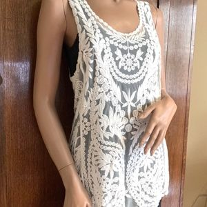 Sheer embroidered ivory tank style top layering